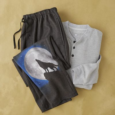2-Piece Men's Wolf Pajama Set