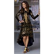 Printed Hi-Lo Velvet Dress