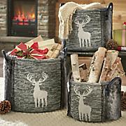 3 pc  faux fur deer basket set