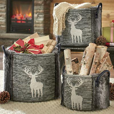 3-Piece Faux Fur Deer Basket Set