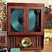 nostalgic wooden music center with bluetooth by itrak