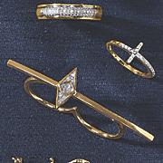 diamond 2 finger ring