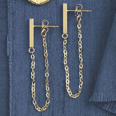 14K Gold Bar/Chain Post Earrings