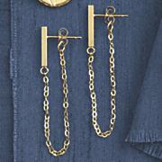 14k gold bar chain post earrings