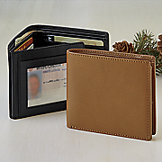 crunch bifold leather wallet