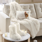 faux mongolian fur throw and booties