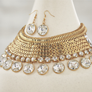Weave/Crystal Necklace/Earring Set