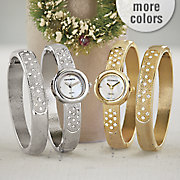 crystal hinge bangle watch set