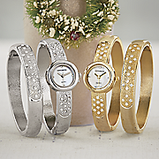 crystal hinge bangle watch set