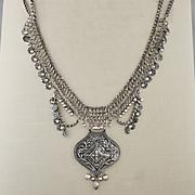 medal bead boho long necklace