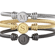 personalized initial disc bangle