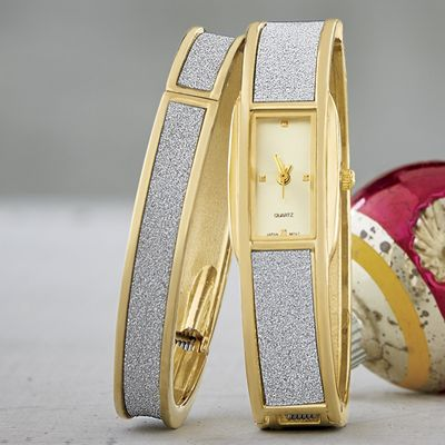 Glitter Hinge-Bangle/Watch Set