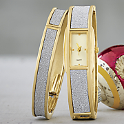 glitter hinge bangle watch set