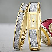 glitter hinge bangle watch set