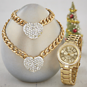 crystal heart jewelry watch set