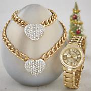 Crystal-Heart Jewelry/Watch Set
