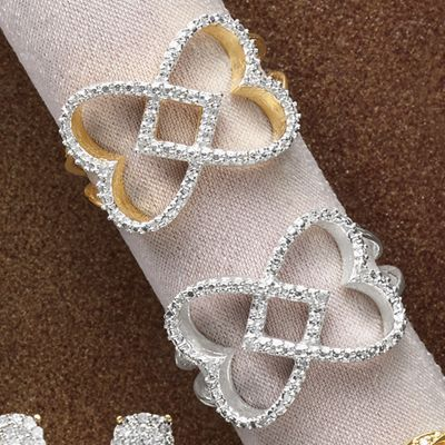 10K Gold Diamond Double Heart Ring