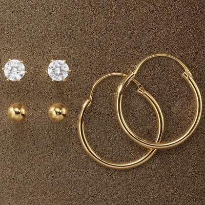 3-Pair Hoop/Cubic Zirconia/Ball-Post Earring Set