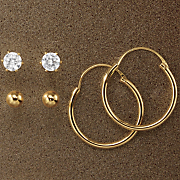 3 pair hoop cubic zirconia ball post earring set