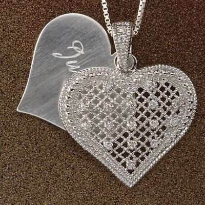 Name/Double Heart Cubic Zirconia Pendant