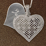 name double heart cubic zirconia pendant