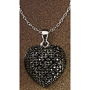 black diamond heart cluster pendant