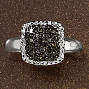 black diamond square cluster ring 31