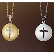 diamond cross round pendant