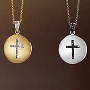 diamond cross round pendant
