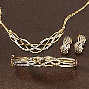diamond necklace  bracelet and earrings set