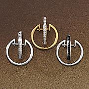 Diamond 3-Pair Hoop Earrings Set