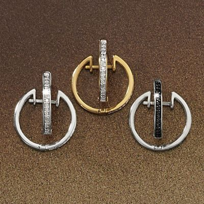 Diamond 3-Pair Hoop Earrings Set