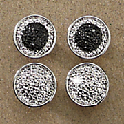 diamond 2 pair round post earrings set
