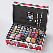 Red Train Case Makeup Set