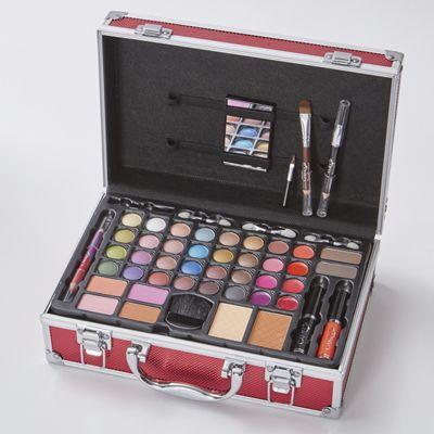 Red Train Case Makeup Set