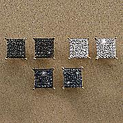 diamond 3 pair square post earrings set