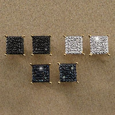 Diamond 3-Pair Square Post Earrings Set