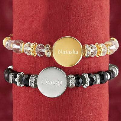 Personalized Beaded Mesh Stretch Bracelet
