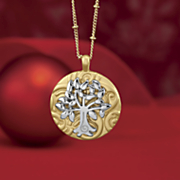 family tree name two tone pendant