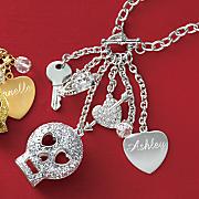 glitter skull personalized pendant