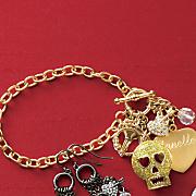 glitter skull personalized bracelet