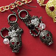 glitter skull earrings