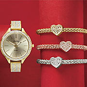 4 pc  crystal watch bracelet set