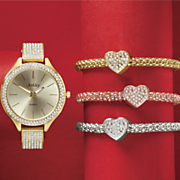 4 pc  crystal watch bracelet set