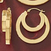 14k gold nano diamond resin double hoops