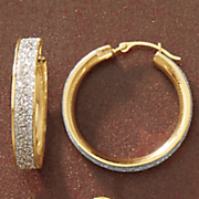 14k gold nano diamond resin two tone glitter hoops