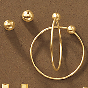 10k gold 2 pair ball post and hoop earring set