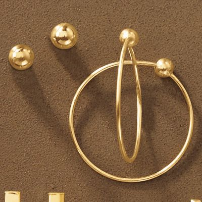 10K Gold 2-Pair Ball Post and Hoop Earring Set
