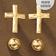 10k gold 2 pair ball and cross post earring set