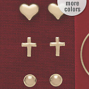10k gold 3 pair ball  cross and heart post earring set